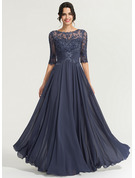 A-Line/Princess Scoop Neck Floor-Length Chiffon Evening Dress With Sequins