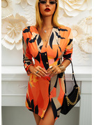 Print Sheath V-Neck Long Sleeves Midi Casual Dresses