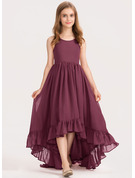 Scoop Neck Asymmetrical Chiffon Junior Bridesmaid Dress With Bow(s) Cascading Ruffles