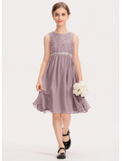 Scoop Neck Knee-Length Chiffon Lace Junior Bridesmaid Dress With Beading Bow(s)