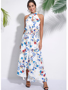 Polyester With Print/Slit Asymmetrical Dress