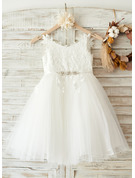 Knee-length Flower Girl Dress - Tulle Lace Sleeveless Straps