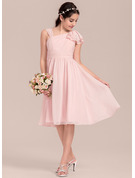 V-neck Knee-Length Chiffon Junior Bridesmaid Dress With Cascading Ruffles