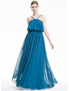 A-Line/Princess V-neck Floor-Length Chiffon Holiday Dress