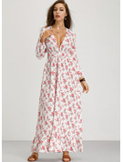 Polyester/Cotton With Print/Ruffles Maxi Dress