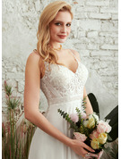 V-neck Floor-Length Wedding Dress With Split Front