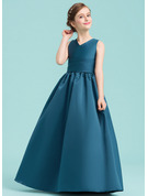 A-Line/Princess V-neck Floor-Length Satin Junior Bridesmaid Dress With Ruffle