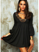 Lace Solid Shift V-Neck Long Sleeves Lantern Sleeve Midi Elegant Little Black Tunic Dresses