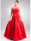 A-Line/Princess Floor-Length Satin Holiday Dress With Beading