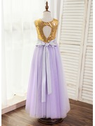 A-Line/Princess Floor-length Flower Girl Dress - Satin/Tulle Sleeveless Scoop Neck With Back Hole (Detachable sash)