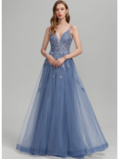 A-Line V-neck Floor-Length Tulle Wedding Dress With Sequins