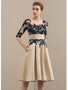 A-Line/Princess Scoop Neck Knee-Length Satin Lace Mother of the Bride Dress