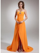 Empire Sweetheart Asymmetrical Chiffon Holiday Dress With Ruffle Beading