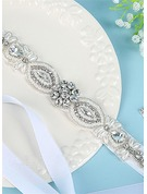 Elegant Satin Sash With Rhinestones/Imitation Pearls