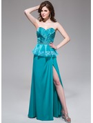 A-Line/Princess Sweetheart Floor-Length Chiffon Organza Holiday Dress With Ruffle Lace Beading Sequins Split Front