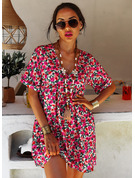 Floral Print Backless Shift V-Neck Short Sleeves Midi Casual Vacation Tunic Dresses