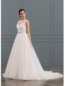 Ball-Gown/Princess Illusion Court Train Tulle Lace Wedding Dress With Beading