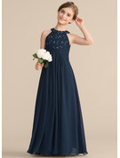 Scoop Neck Floor-Length Chiffon Lace Junior Bridesmaid Dress With Ruffle Beading