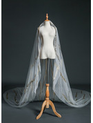 One-tier Cut Edge Cathedral Bridal Veils With Rhinestones/Lace