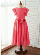 A-Line/Princess Ankle-length Flower Girl Dress - Chiffon Short Sleeves Scoop Neck With Sash