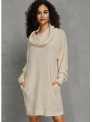 Chunky knit Cotton Turtleneck Pullovers Sweater Dresses Sweaters