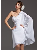 Sheath/Column One-Shoulder Asymmetrical Chiffon Holiday Dress With Beading