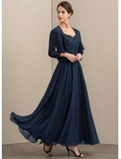 V-neck Ankle-Length Chiffon Lace Mother of the Bride Dress