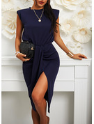 Solid Bodycon Round Neck Sleeveless Midi Casual Elegant Pencil Dresses