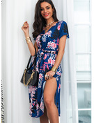Floral Print Sheath V-Neck Short Sleeves Midi Casual Vacation Dresses