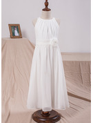 A-Line Scoop Neck Ankle-Length Junior Bridesmaid Dress With Flower(s)