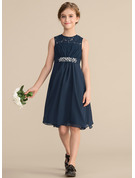 Scoop Neck Knee-Length Chiffon Lace Junior Bridesmaid Dress With Beading Sequins Bow(s)