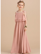A-Line Floor-length Flower Girl Dress - Chiffon Sleeveless Square Neckline With Ruffles