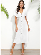 Polyester With Button/Solid Midi Dress