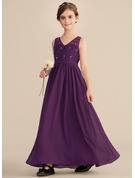 V-neck Floor-Length Chiffon Lace Junior Bridesmaid Dress With Beading