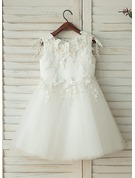 Knee-length Flower Girl Dress - Tulle Lace Sleeveless With Appliques