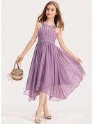 Scoop Neck Tea-Length Chiffon Junior Bridesmaid Dress With Ruffle Beading Bow(s)