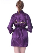 Personalized Satin Bride Bridesmaid Mom Flower Girl Glitter Print Robes