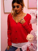 V-Neck Long Sleeves Solid Casual Cardigans