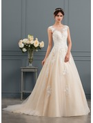 Ball-Gown/Princess Illusion Court Train Tulle Wedding Dress With Sequins