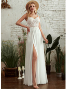 V-neck Floor-Length Wedding Dress With Beading Split Front