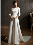 A-Line/Princess Off-the-Shoulder Watteau Train Satin Wedding Dress