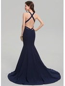 Trumpet/Mermaid V-neck Court Train Stretch Crepe Evening Dress