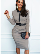 Print Bodycon Shirt collar Long Sleeves Midi Elegant Pencil Dresses