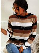 Color Block Cable-knit Polyester Round Neck Pullovers Sweaters