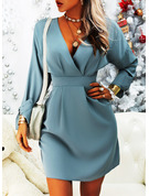 Solid A-line V-Neck Long Sleeves Midi Casual Elegant Skater Dresses