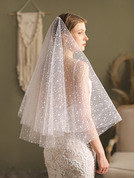 Two-tier Cut Edge Elbow Bridal Veils With Satin Flower