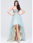 A-Line/Princess Sweetheart Asymmetrical Tulle Prom Dresses With Ruffle Beading Sequins