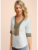 1/2 Sleeves Cotton V Neck Blouses