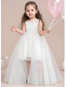 A-Line/Princess Knee-length Flower Girl Dress - Tulle/Lace Sleeveless Scoop Neck With Lace/Appliques