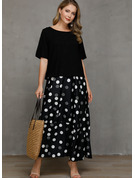 Polyester With PolkaDot Maxi Dress (Two Pieces)